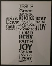 "Jesus Grace Love Lord Faith Peace Cross Words 8.5""x11"" Custom Stencil FREE SHIP"