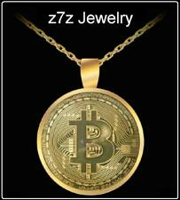 """BITCOIN GOLD Necklace - coin medallion pendant 24"""" cryptocurrency bling ice z7z"""
