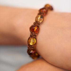 Natural Baltic Amber Bracelet Macrame Shamballa Amber Natural Linen Brown Beads