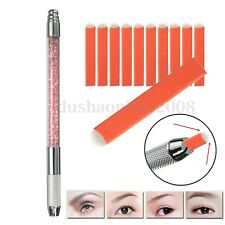 Tatouage Sourcil Stylo + 10pcs Semi Permanent Maquillage U Forme 18 Pin Aiguille