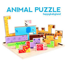 3D Wooden Jigsaw Puzzle Cartoon Animal  - Children Educational Toy