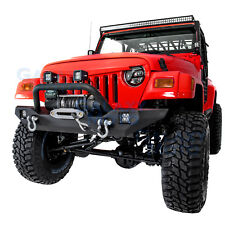 Rock Crawler Front Bumper+Winch Plate+2pcs LED Light for 97-06 Jeep Wrangler TJ