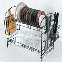 2-Tier Dish Drying Rack Stainless Steel Drainer Tray Kitchen Space Saver
