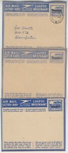 BASUTOLAND 1949 3x o/p SOUTH AFRICA airmail letter cards 1) MASERU-BLOEMFONTEIN