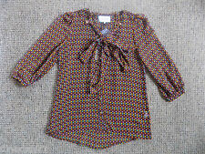 River Island women's blouse size 8 brown print 3/4 sleeve brand new