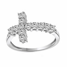 Cross Band Ring 925 Sterling Silver Round White Natural Diamond Accent Sideways