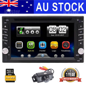 Free Camera Double 2 DIN Car Stereo DVD Player Radio SAT GPS With Map Bluetooth