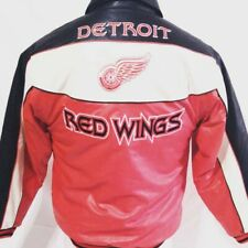 NHL Detroit Red Wings Spell Out Leather Motorcycle Style Jacket Size XL Hockey