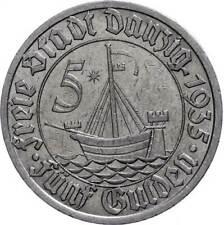 62847) 5 Gulden 1935 J. D19 Kr. Rf. ss-vz