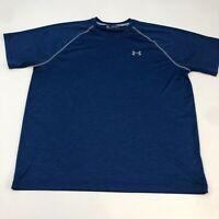 Under Armour HeatGear Athletic Shirt Men's 2XL XXL Short Sleeve Navy Loose Fit
