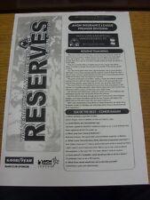 22/11/2000 Wolverhampton Wanderers Reserves v Birmingham City Reserves  (Single
