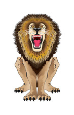 """Kite 44"""" Flying African Male Lion SkyZoo Dlx String, Winder, Tail.10. Bs 70803"""