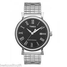 NEW TIMEX SILVER TONE EXPANSION BAND+BLACK DIAL w/ NUMERALS+DATE WATCH-T2N539