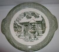 """Royal USA The Old Curiosity Shop Handled Serving Plate 11.5"""" Winter Scene"""