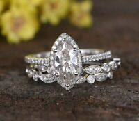 2.8Ct Marquise Diamond Wedding Engagement Trio Ring Set 14K White Gold Finish