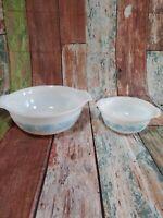 Vintage Pyrex Cinderella Bowls #443 And #441 Thistle Blue.