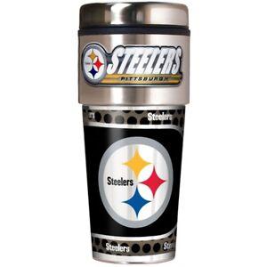 Pittsbugh Steelers Coffee Mug Travel Tumbler Cup NFL Metallic Logo w/ Emblem