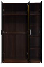 REFLECT 3 Door Wardrobe Mirrored High Gloss Black Walnut Bedroom Furniture