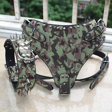 Pu Leather Spiked Studded Dog Harness&Collar Set for Big Dog Pitbull Husky Boxer