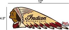 "(IND-2-L) 12"" LEFT INDIAN MOTORCYCLE WAR BONNET STICKER DECAL"