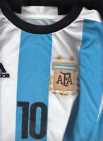 PRE OWNED #10 Messi Argentina Adidas Soccer T-shirt  BOYS 14 VERY GOOD CONDITION