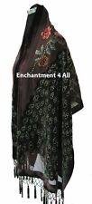 Handmade Stunning Beaded 100% Silk Velvet Peacock Oblong Scarf Shawl Wrap, Brown