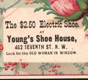 """Electric Shoe 1880's """"Look for the Old Woman in Window"""" Washington DC Trade Card"""