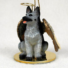 German Shepherd Dog Figurine Angel Statue Hand Painted Black/Silver