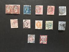 12 Timbres anciens du Royaume-uni reine Victoria 1858 à 1900 Côte 300 €