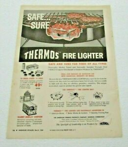 Vintage Hardware Retailer March 1960 Magazine Ad Thermos Fire Lighter