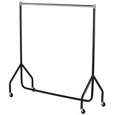 4ft (125cm) Clothes Rail Chrome / Black portable wheels castors strong hanging