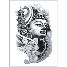 Einmal TATTOO BUDDHA Tempel Schwarz Temporäres Tattoo Klebetattoo - p00st0116