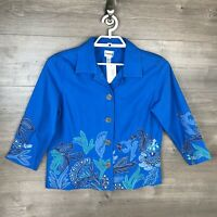 Chico's Womens Size 1 Embroidered Blazer Jacket Floral Button Up 100% Cotton NEW