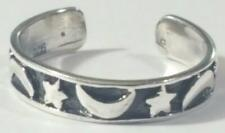 Moon and Stars Toe Ring Adjustable 925 Sterling Silver