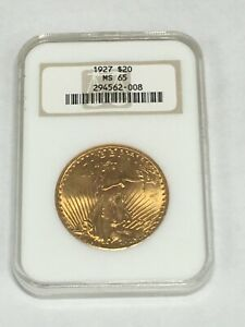 1927 MS65 NGC $20 Saint Gaudens Double Eagle United States Gold Coin