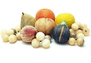 Vintage Painted Italian Alabaster Marble Stone Fruit Set of 7