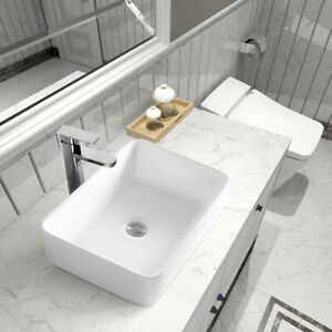 "Sinber 19""x15"" Rectangle Ceramic Bathroom Vanity Vessel Sink Above Counter Basin"