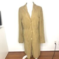 NIGEL PRESTON Womens Jacket Brown Tan Suede Leather Long Coat Size Large