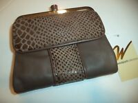 Ladies Snakeskin French Purse Wallet- Taupe
