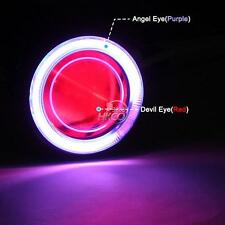Hi/Low Beam LED Projector Headlight For Motorcycle Red Angel Eye Devil Eye New