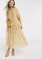 Asos Design Midi Dress With Tie Sleeves Yellow Ditsy Print Size 10. Sold Out NEW