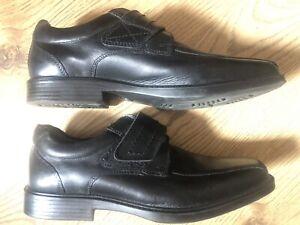 Boys Kangol Black Leather Top Strap Fasten Sch Shoe Size 6 / 39…as New