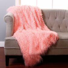 "Pink Mongolian Lamb Throw- 60"" x 84"""