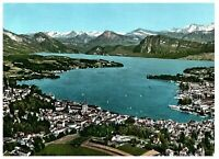 Lake Lucerne & Mountains Aerial View Switzerland Postcard