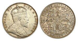 C493, Straits Settlements, Edward VII, 1 Dollar 1907, Silver, Nice grade!