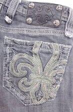 MISS ME Jeans Seattle Gray JP4369B Low Boot Cut Wide Hems SIZE 26 x 29.5