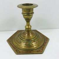 Vintage Indian Brass & Enamel Candlestick / Candle Holder Cloisonne 9cm tall