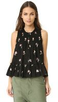 Ulla Johnson Cecile Floral Printed Embroidered Black Blouse Top S New 199322