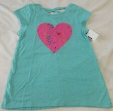 NWT Girls MTA Sport 4/5 Blue HEART Short Sleeve Summer Cross Back Tee Shirt