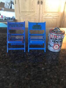 WWE 2 Blue Chair & Garbage Can Lot WWF Hardcore Wrestling Custom Jakks Pacific